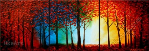 The-font-b-Mystical-b-font-Forest-tree-wall-decorations-oil-painting-on-canvas-art-set