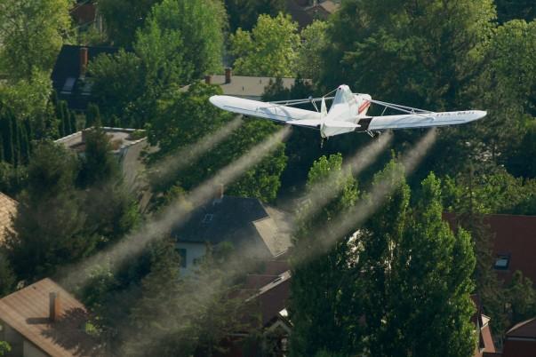 Siófok, 2009. július 30. Egy Piper 25-ös típusú repülőgéppel vegyszeres szúnyogirtást végeznek a Balaton partján. Az Aero Media Kft. szakemberei két nap alatt mintegy 5900 hektár területet mentesítettek a kora reggeli és az esti órákban a szúnyogoktól. MTI Fotó: H. Szabó Sándor